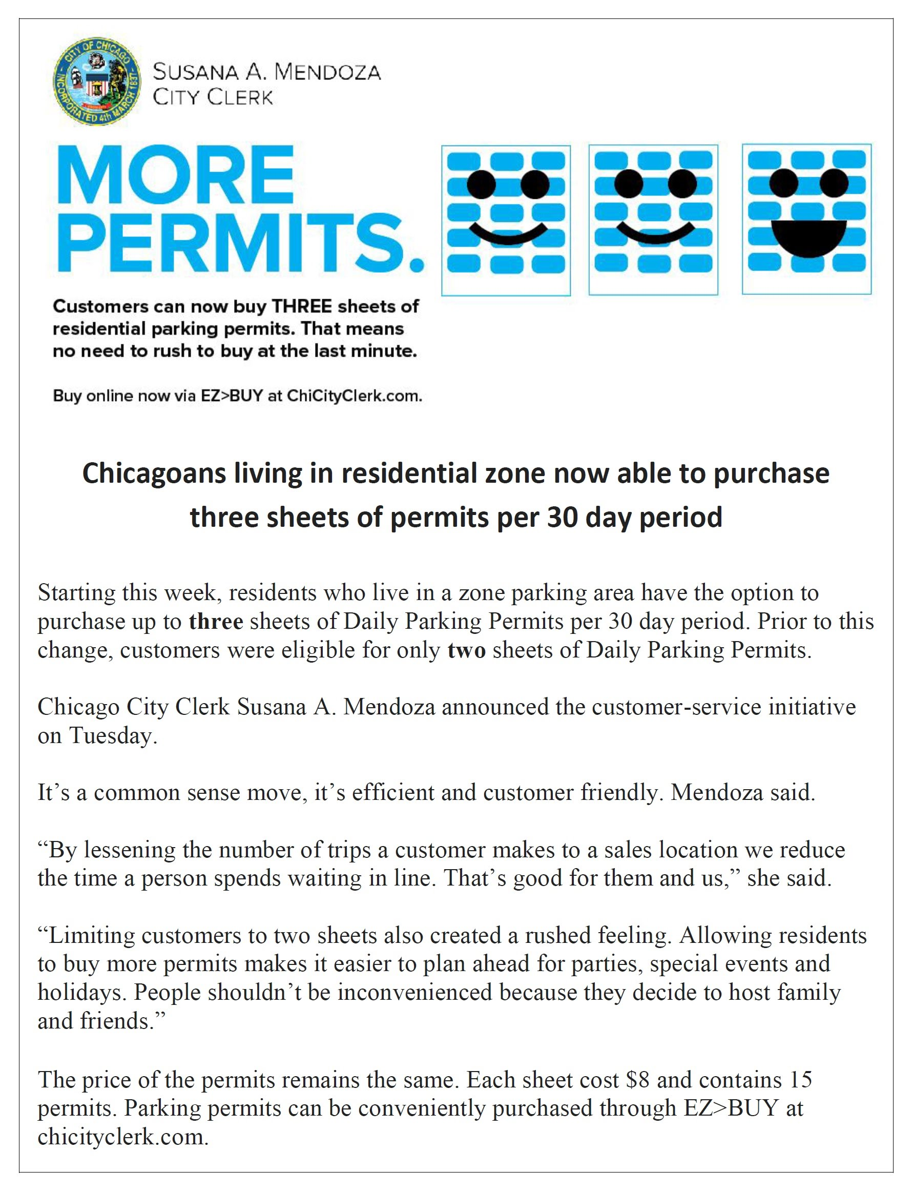 Chicagoans Who Live in Zoned Parking Can Now Buy 3 Daily