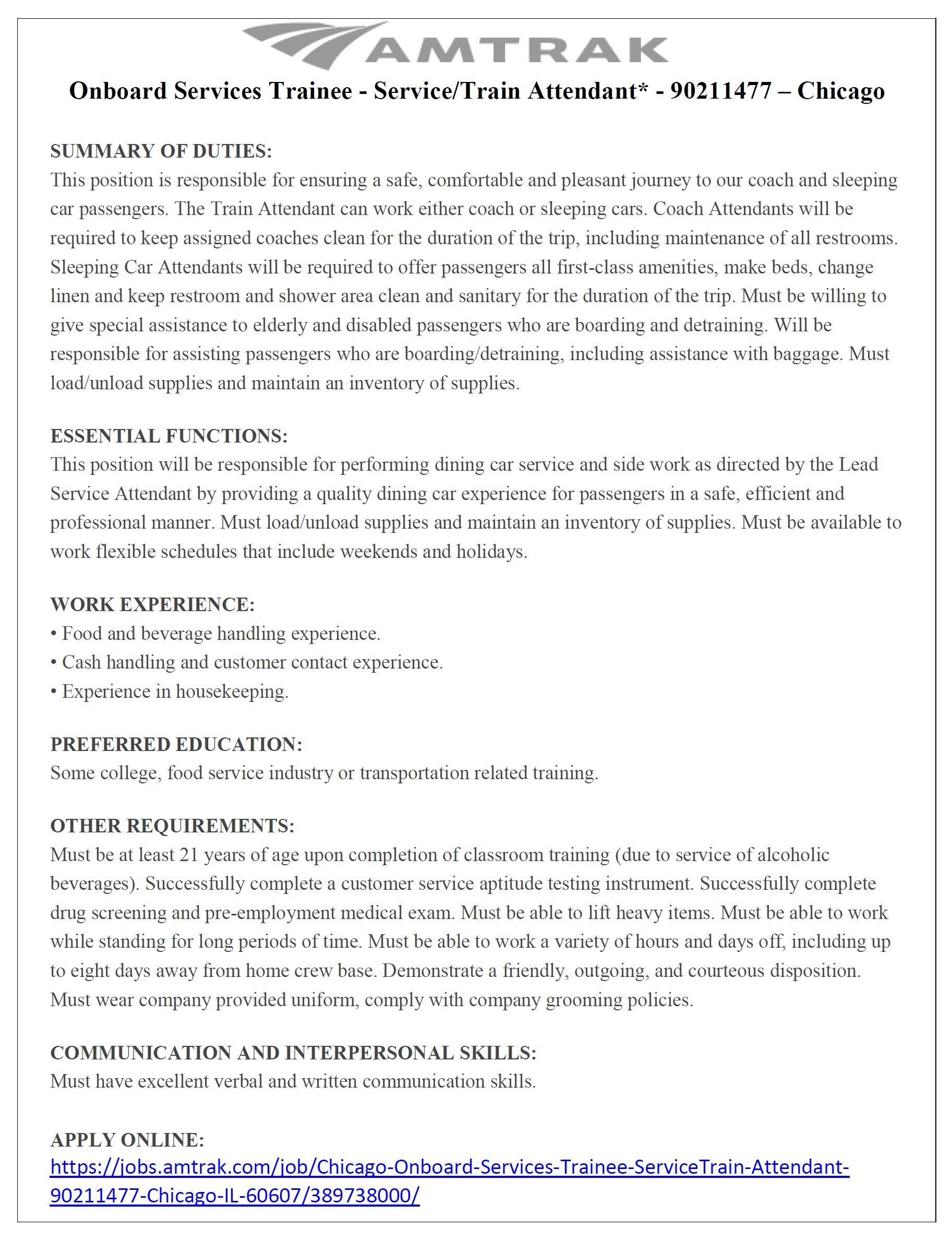 city of chicago opportunities alderman jason c ervin amtrak is hiring now