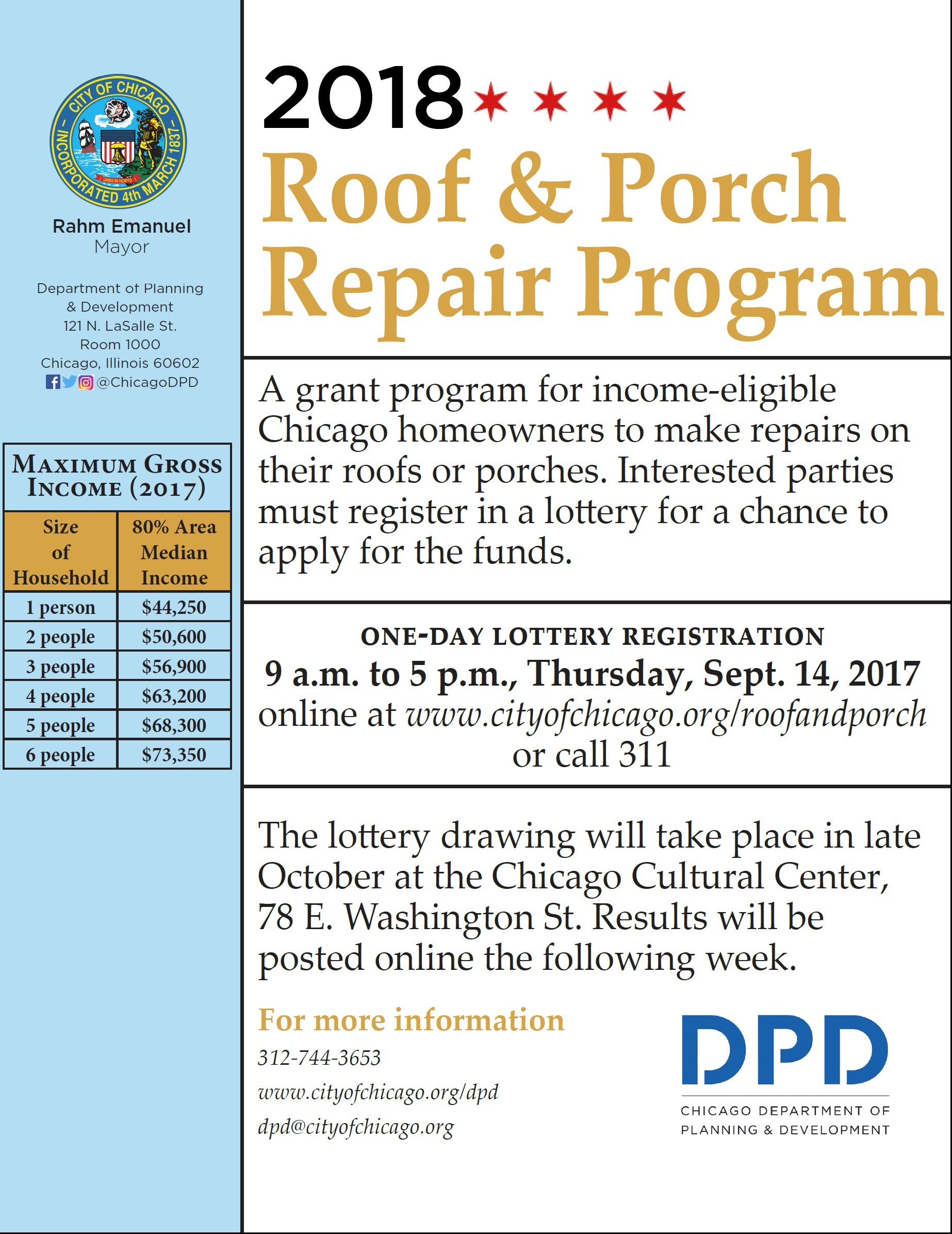 City S Roof Amp Porch Repair Program One Day Lottery