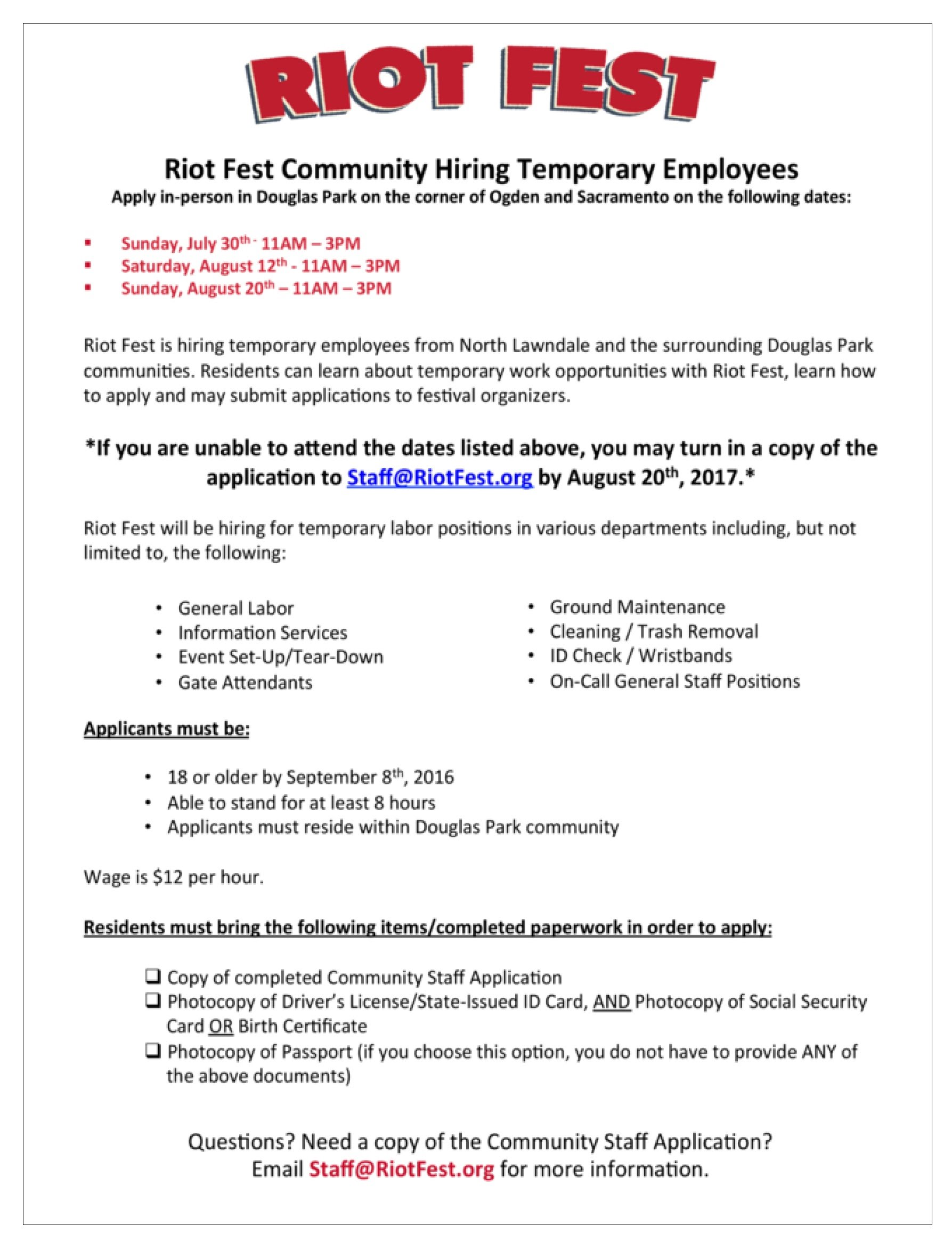 Riot fest community hiring temporary employees alderman jason c riot fest community hiring temporary employees 1betcityfo Choice Image