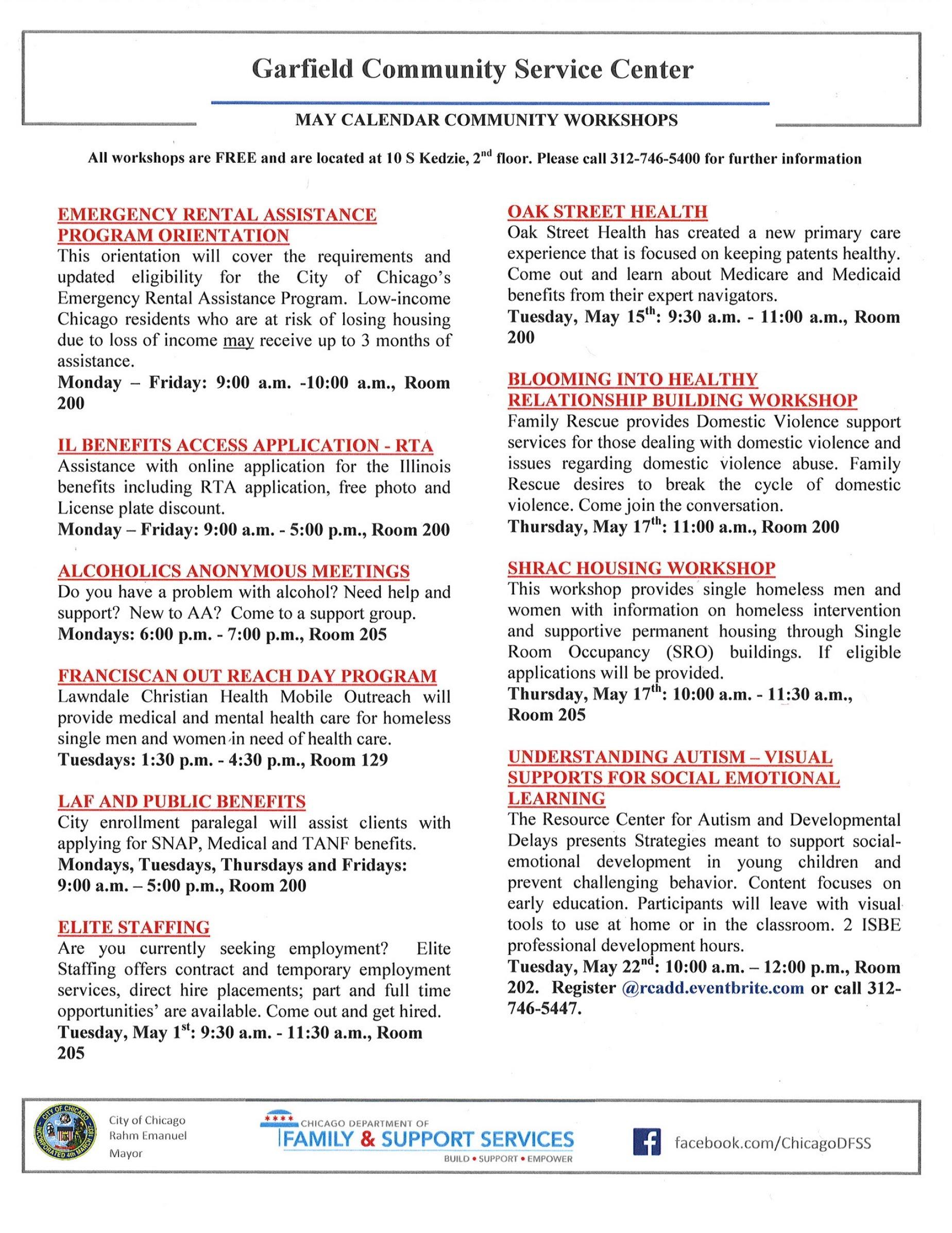 Garfield Community Service Center - May Calendar Community Workshops